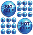 Discount blue stickers on white background vector image