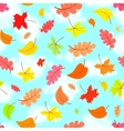 falling leaves across the blue sky seamless vector image