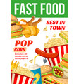 fast food restaurant or bistro poster vector image vector image