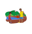 flat dad teaches son play in basketball vector image vector image
