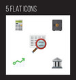 flat icon incoming set of bank growth scan and vector image vector image