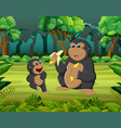forest background with two gorilla eating vector image vector image