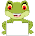 funny frog cartoon sitting holding a blank sign vector image vector image