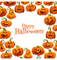 halloween pumpkin greeting card autumn holiday vector image vector image