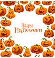 halloween pumpkin greeting card of autumn holiday vector image vector image