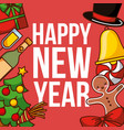 happy new year poster greeting celebration vector image