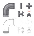 isolated object of pipe and tube icon set of pipe vector image