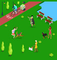 isometric people training dogs in the park vector image