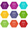 jar of honey icons set 9 vector image vector image