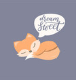 lovely animal cartoon character cute little fox vector image vector image