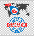 made in canada stamp world map with red country vector image vector image