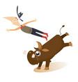 man or cowboy falls from bull vector image vector image