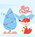 merry christmas fox and pine tree greeting card vector image vector image
