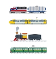 Modern and vintage trains collection vector image vector image