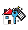 mortgage house icon concept key black outline vector image