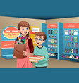 mother and son buying school supplies vector image