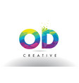 od o d colorful letter origami triangles design vector image vector image
