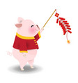 pig playing chinese cracker vector image vector image