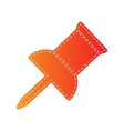 Pin push sign Orange applique isolated vector image vector image