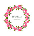pink flowers round frame card template vector image