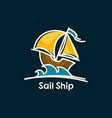 sail ship on waves cartoon icon vector image vector image