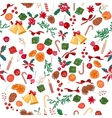 Seamless Christmas pattern with fruits bells vector image vector image