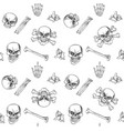 seamless pattern doodles skulls and bones on a vector image