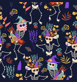 seamless pattern with skeletons and flowers happy vector image