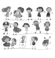 Set of children in black and white vector image vector image