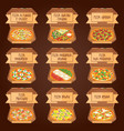 set of italian pizza in boxes 9 item different vector image vector image