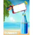 Summer bottle background with speech bubble vector image vector image