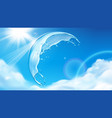 summer sky with sun behind splashing water bubble vector image vector image