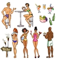 Tiki Bar Collection Hand drawn vector image vector image