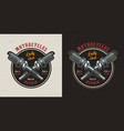 vintage motorcycle repair shop colorful emblem vector image vector image