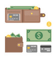 wallet dollar bank vector image vector image
