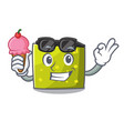 with ice cream square character cartoon style vector image