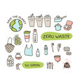 zero waste elements set fabric bags glass jars vector image vector image