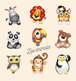 zoo life cartoon fun zoo animals set vector image vector image