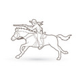 cowboy on horse aiming rifle outline vector image
