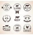 butcher retro emblems and labels set design vector image
