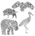set of animals with ethnic ornaments vector image