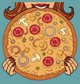 a woman eats pizza mushrooms tomatoes restaurant vector image