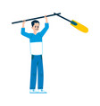 a young man boom and sound operator stands and vector image vector image
