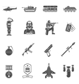 Army Black White Icons Set vector image
