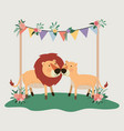 baby shower card with cute lions couple vector image vector image