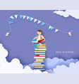 back to school card with boy and books vector image