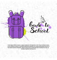 back to school doodle backpack label hand drawn on vector image vector image