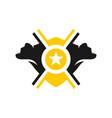 bear two heads shield logo design vector image vector image