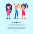 best friends three girls poster of active females vector image vector image
