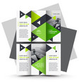 brochure design template tri-fold green vector image vector image